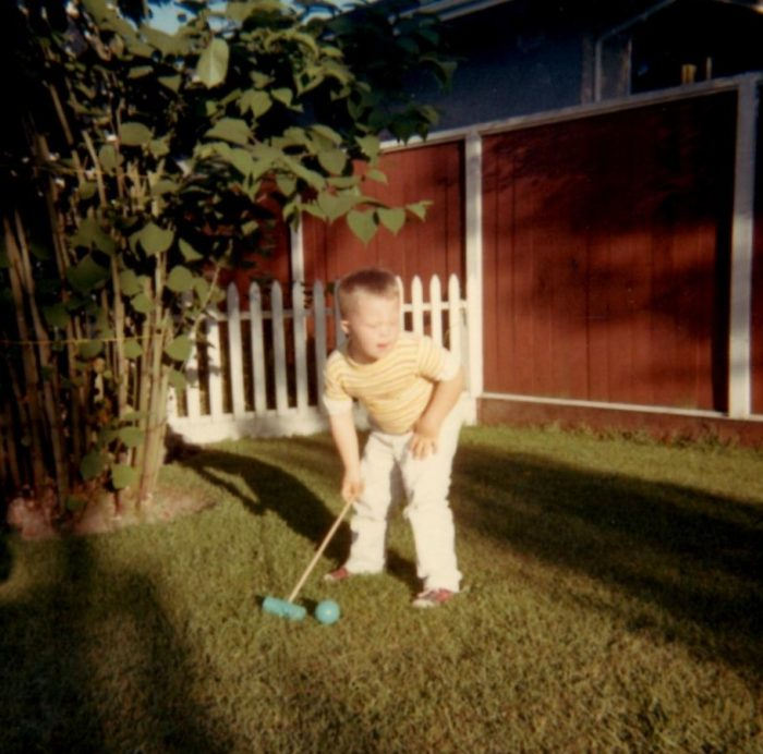 Sixth Birthday 1969 Lining up a Croquet shot