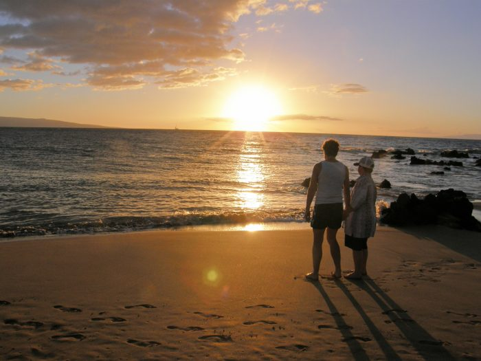 November 2012 Ken & Diana Maui beach at sunset